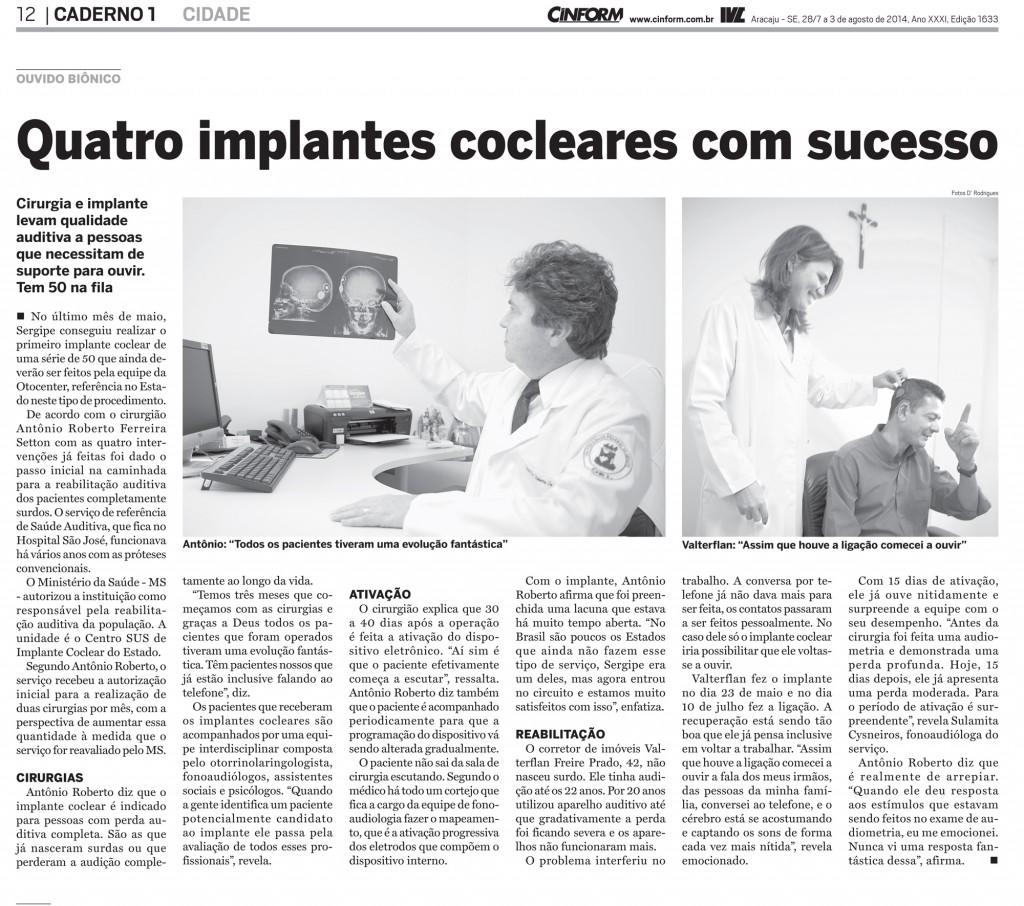 implantes cocleares com sucesso